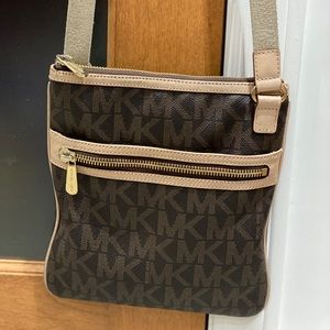 Authentic large brown signature MK crossbody bag